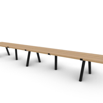 Wooden table with poadercoated base