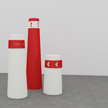 Gestoffeerde kegels met signalisatie in de kleuren rood en wit.